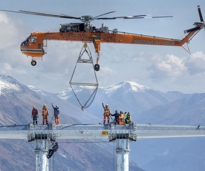 Erickson S-65 Aircrane helicopter performing utility work