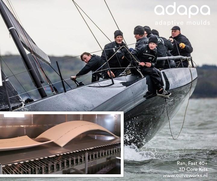 Adapa adaptive molds used to produce 3D core kits using Gurit Corecell foam core