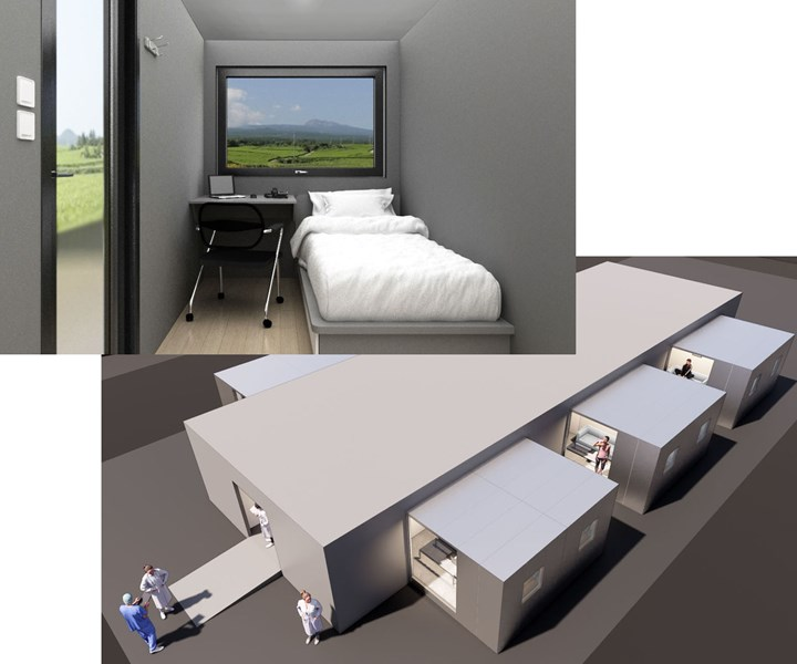 Quarantreat medical isolation studio interior and assembled into a fleet of units