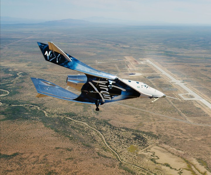 Virgin Galactic's SpaceShipTwo over Spaceport America in New Mexico.
