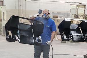 spray coat on fiber reinforced polymer part
