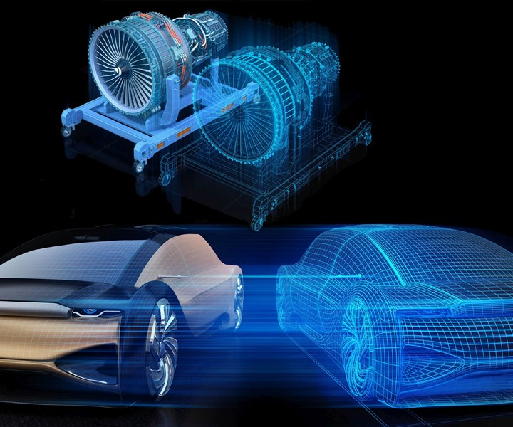 digital twin of jet engine and electric automobile