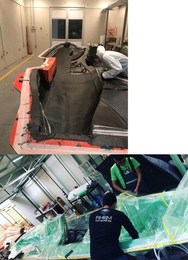RHEM Composites layup infusion for CFRP fuselage prototype P400-T