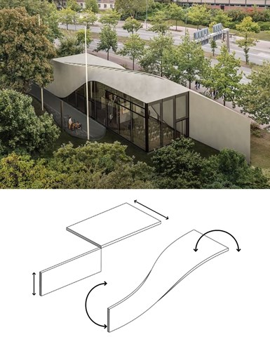CUBE carbon-fiber reinforced concrete building and diagram of roof and wall combined into twist