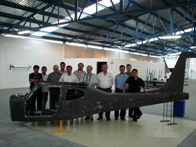 CFRP fuselage for Aeromarmi Stela-MI two-seat aircraft plus team