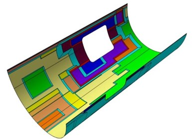 CAD model of thermoplastic composite MFFD lower fuselage skin