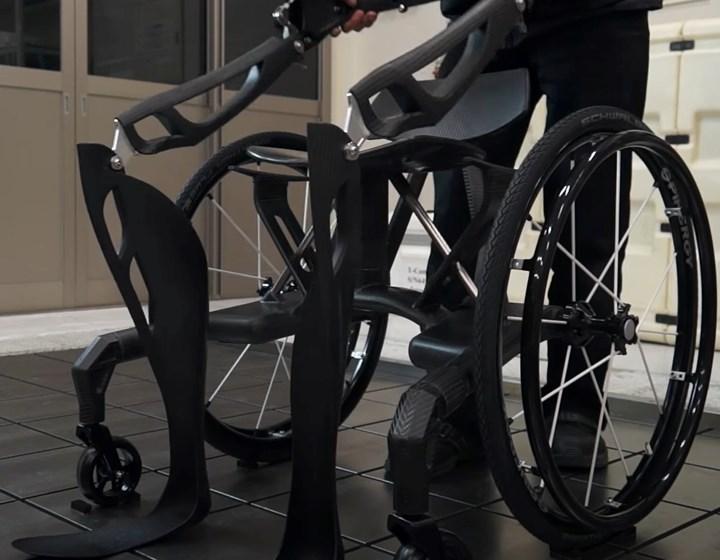 C-FREX carbon fiber composite exoskeleton is wheelchair convertible