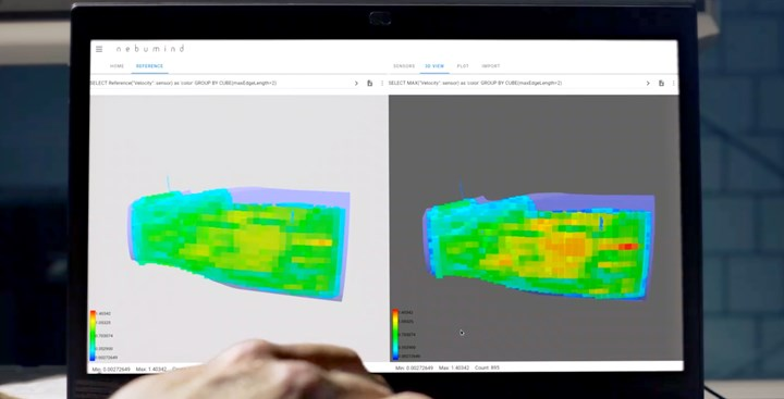 nebumind software digital twin of manufactured composite part compared to CAD