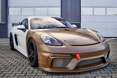 Porsche Cayman 718 GT4 CS MR with natural fiber composite body