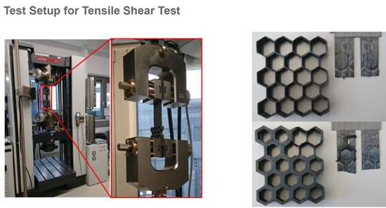 tensile shear testing of hybrid 3D-printed and AFP composites