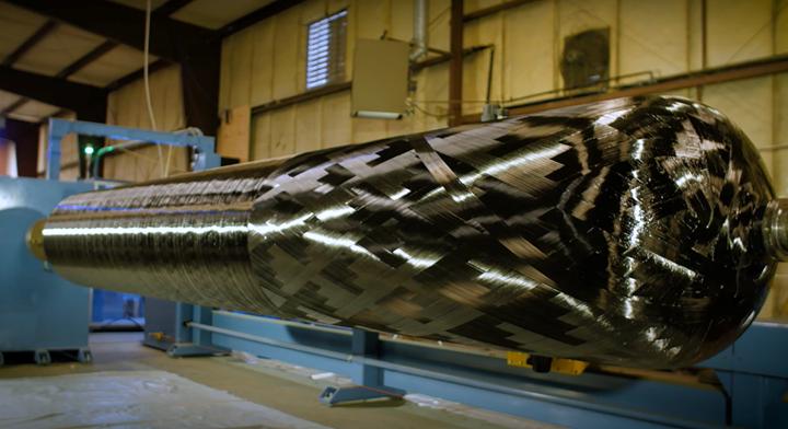 Cimarron Composites filament winding Jupiter CFRP pressure vessel