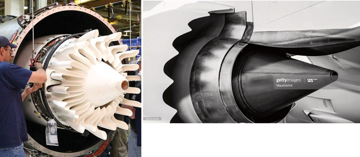 Passport jet engine mixer and jet engine nacelle, pylon and exhaust cone