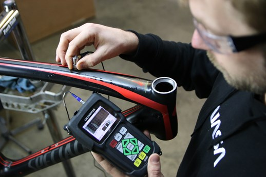 Olympus nondestructive testing of carbon fiber bicycle part