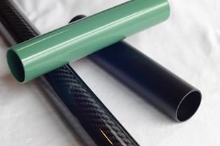 UV-cured powder coating on carbon fiber tubes