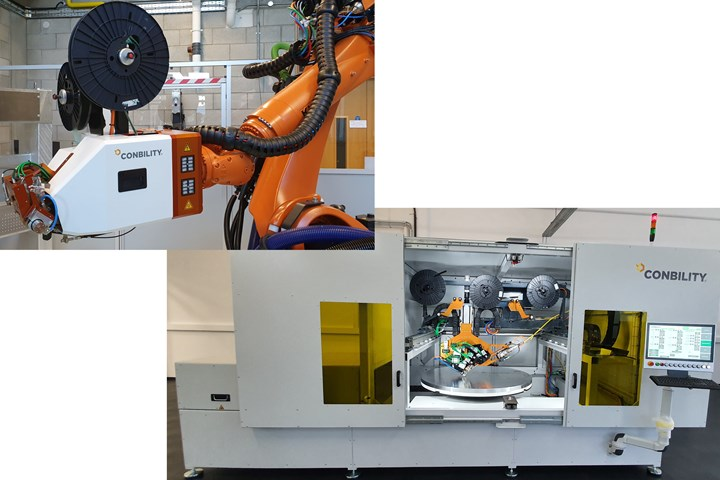 Conbility PrePro 3D AFP head and PrePro 2D automated cell for tailored composite laminates