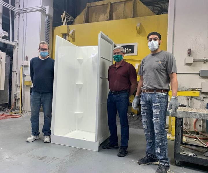 bath units manufactured by composites fabricator for coronavirus hospitals