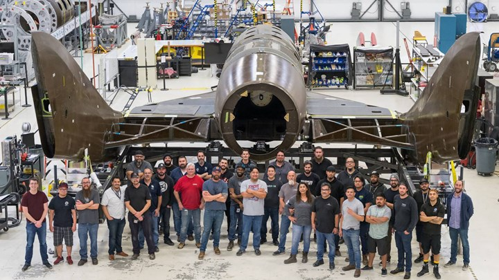Spaceship Co. SpaceShipTwo feather system joined
