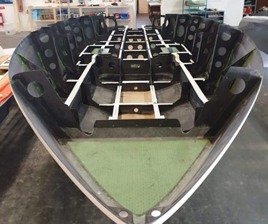 Candela Boats Seven foiling speedboat hull fabrication