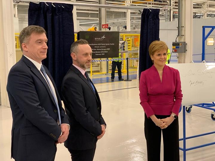 opening ceremony of new Prestick Scotland Spirit AeroSystems spoiler manufacturing facility