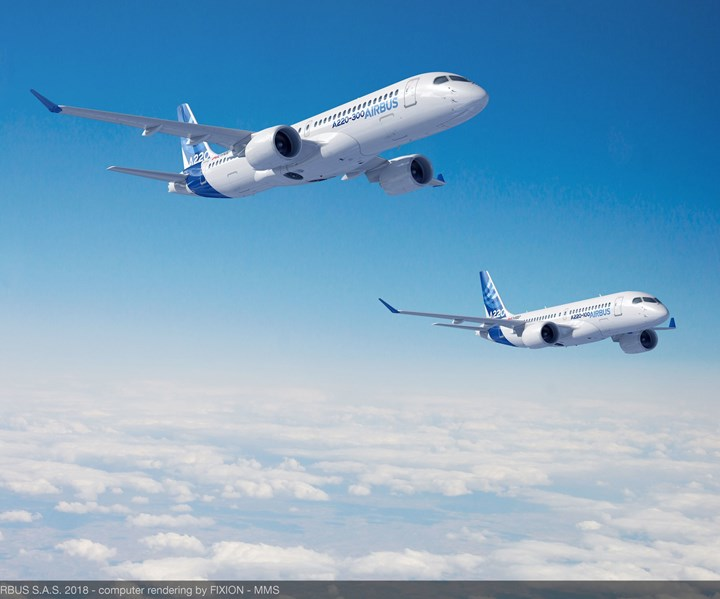 Airbus A220 aircraft in flight; Bombardier divests A220 to Airbus