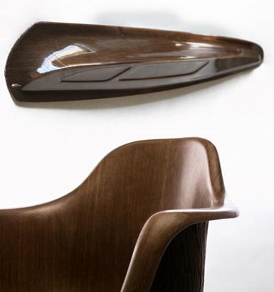 Ekoa Surface flax fiber/biothermoplastic composite veneers on fenders and chair
