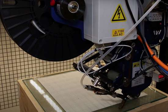 using AFP-XS to make preform using woven glass fiber tape