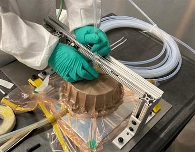 layup setup for carbon fiber composite wheels for Iris lunar rover