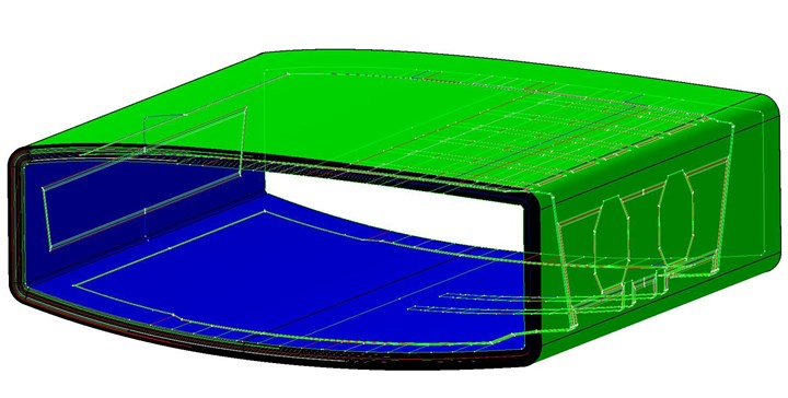Airbus single-piece composite center wing box CAD drawing