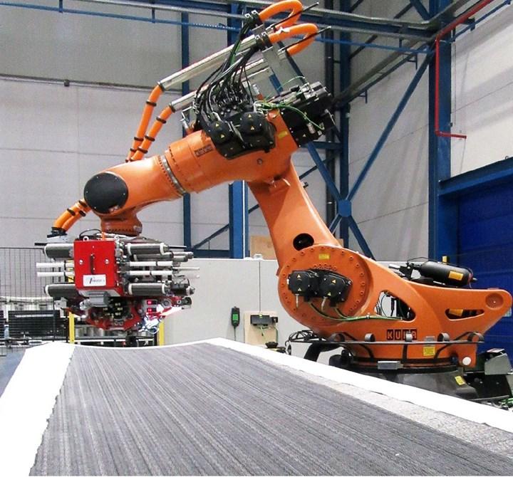 IIAMS project AFP wing skin using MTorres robot AFP machine