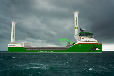 rendering of zero-emissions cargo ship design