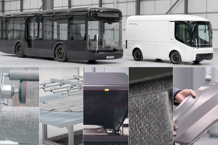 Arrival electric buses and vans use composite body panels