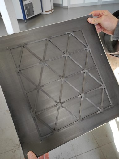 composite isogrid panel produced with COMEC robotic system