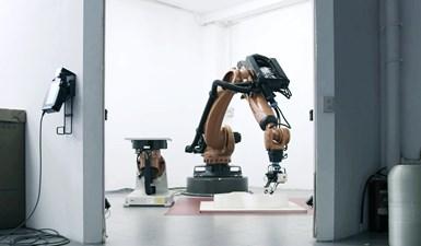 KUKA robotic arm on Moi Composites Continuous Fiber Manufacturing 3D printer