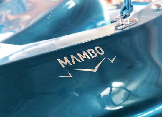 close-up of finished MAMBO 3D-printed fiberglass boat
