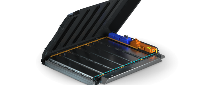 Evonik EV battery housing with epoxy SMC cover, hinged