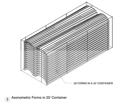 illustration of stacked fiberglass composite forms for ST Bungalow roof concept