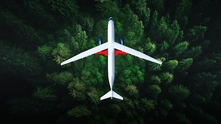飞越森林的飞机。