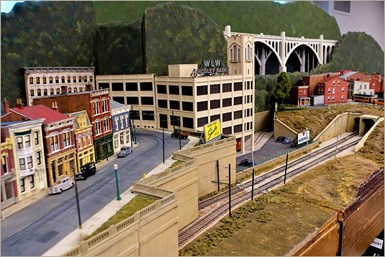 Mark Albert's portable HO scale trolley and interurban layout.