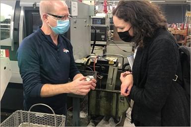 Lori Beckman, Senior Editor, Production Machining; Robin Rutschilling, Director of Operations, Clippard Instrument Laboratory