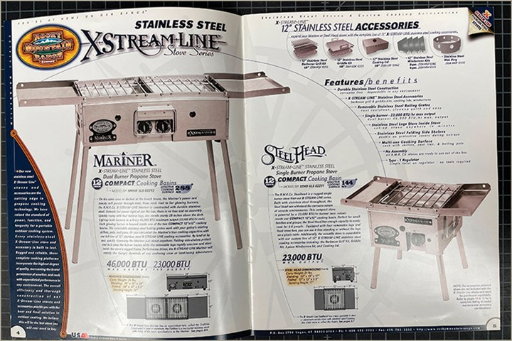 Thisspread represents the RMR Co.flagship outdoor stove products from their 2000 millennium catalog. These werealuminumprototypes thatnever made it into production. If you come acrossaBlackStone stoveat a retailer, thoseare aderivative product stemming from the RMR Co. designs.