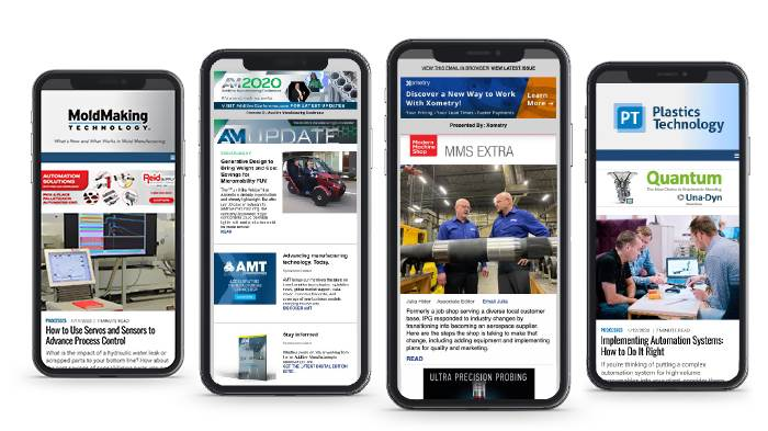 Screens displaying email newsletters