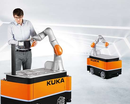 KUKA's KMR iiwa combines a mobile platform with a collaborative robot.