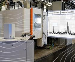 Un sensor transfiere los espectros de vibración del blisk a través de 5G con una latencia de menos de milisegundos a un software. Foto: Fraunhofer IPT.