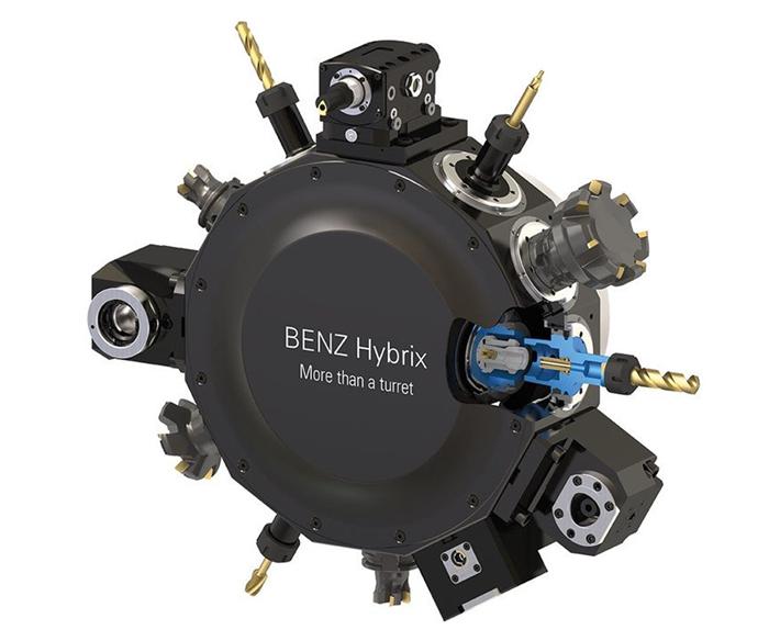 Sistema de portaherramientas de una hilera en forma de estrella con sistema de intercambio automático de herramientas, de Benz.