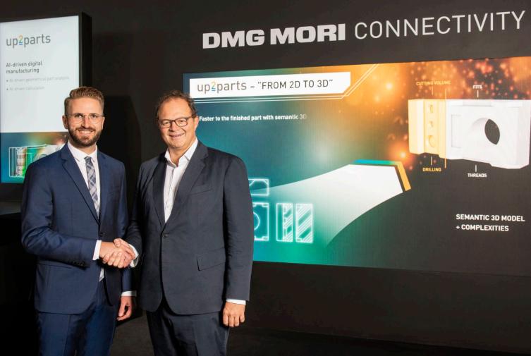 Christian Thönes (derecha), presidente de la Junta Ejecutiva de DMG MORI AKTIENGESELLSCHAFT; y Marco Bauer, Director Gerente de BAM GmbH. Con la compañía de software up2parts, que surge de BAM GmbH, los procesos de fabricación se digitalizan, unifican y profesionalizan.