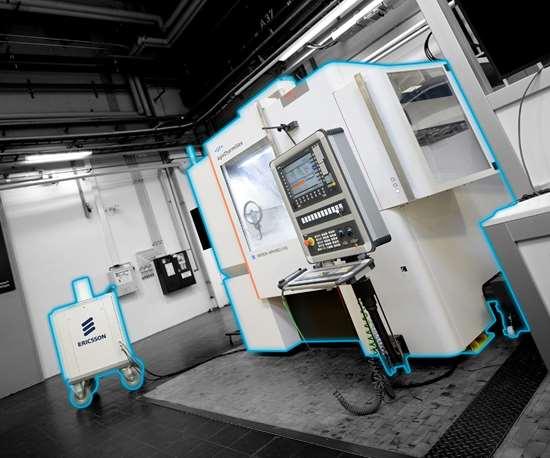 Comunicación inalámbrica para un entorno de producción flexible: la tecnología de sensor modular basada en 5G equipa la maquinaria existente con nuevas capacidades de monitoreo de procesos. © Fraunhofer IPT