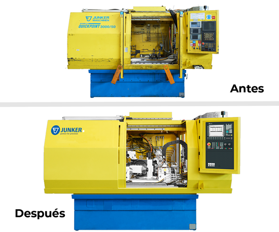 Junker compartió estas imágenes del antes y después de un servicio de reacondicionamiento de una máquina rectificadora.