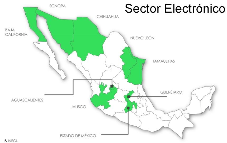 Mapa de producción sector electrónico en México.