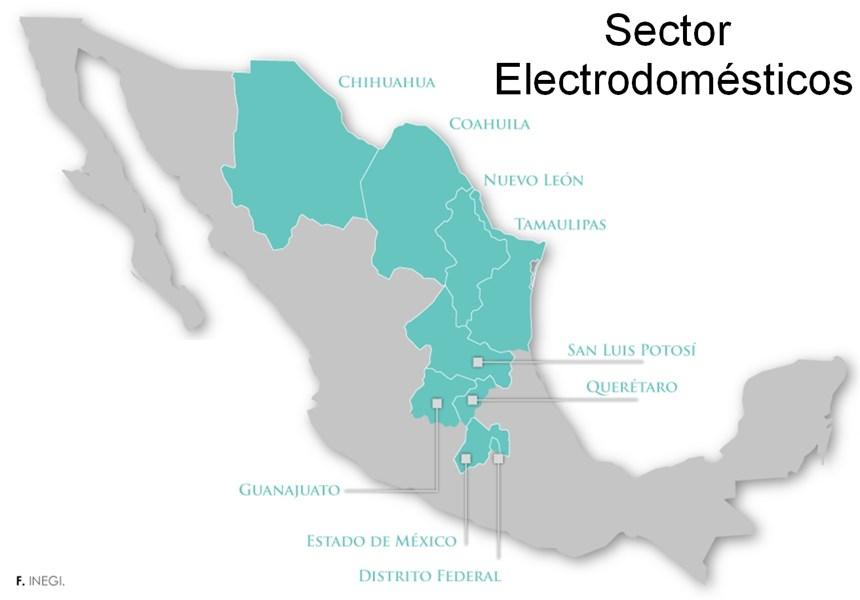Mapa de producción sector de electrodomésticos en México.