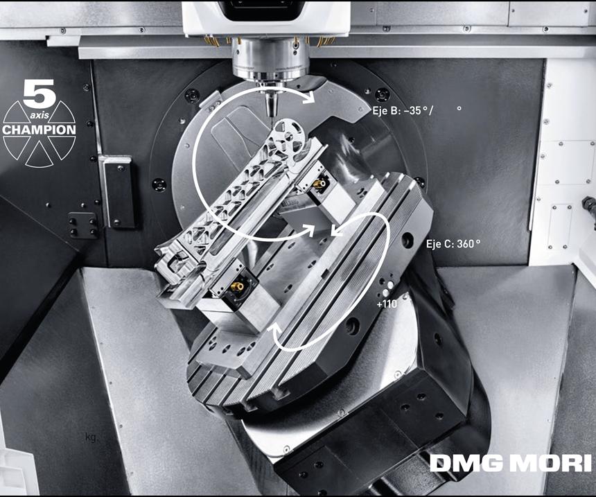 La fresadora universal compacta para el mecanizado simultaneo en 5 ejes de 3ra generación, DMU 50, de DMG MORI,posee un área de mecanizado más espaciosa junto con un campo de oscilación del eje B mucho mayor amplían la gama de aplicaciones.